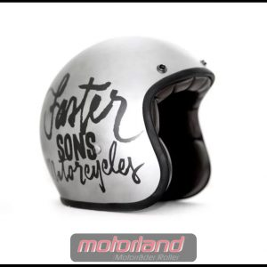 Faster Sons Jet-Helmet Silber Motorradhelm in Größe S