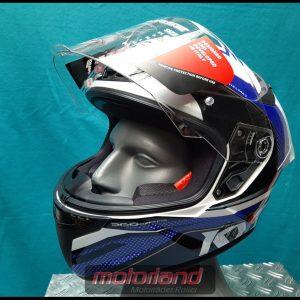 Motorradhelm Integralhelm KYT TT-COURSE Grand Prix Blue/Red Design + inkl.dunklem Visier