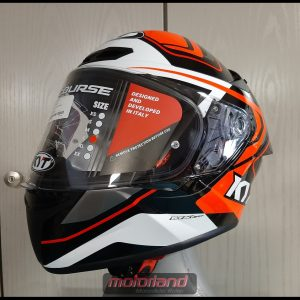 KYT Motorradhelm Integralhelm TT – COURSE in White/Orange Design